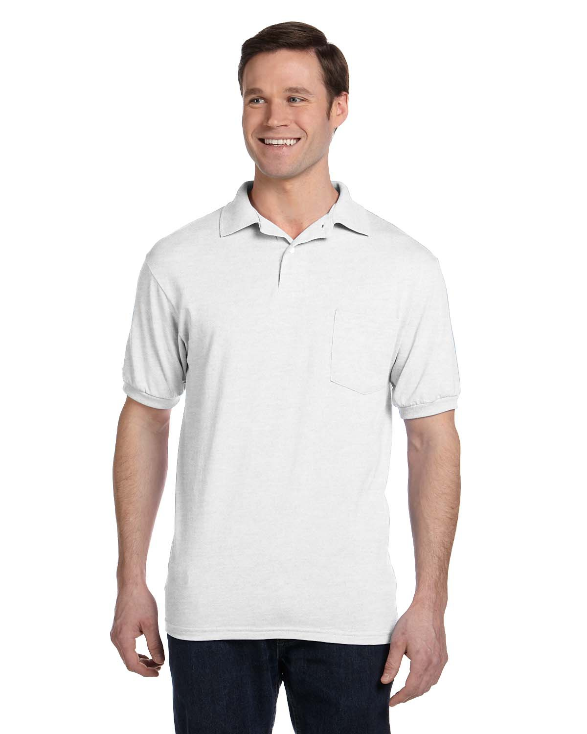 Hanes 054P Men 5.2 oz., 50/50 EcoSmart Jersey Pocket Polo White at GotApparel