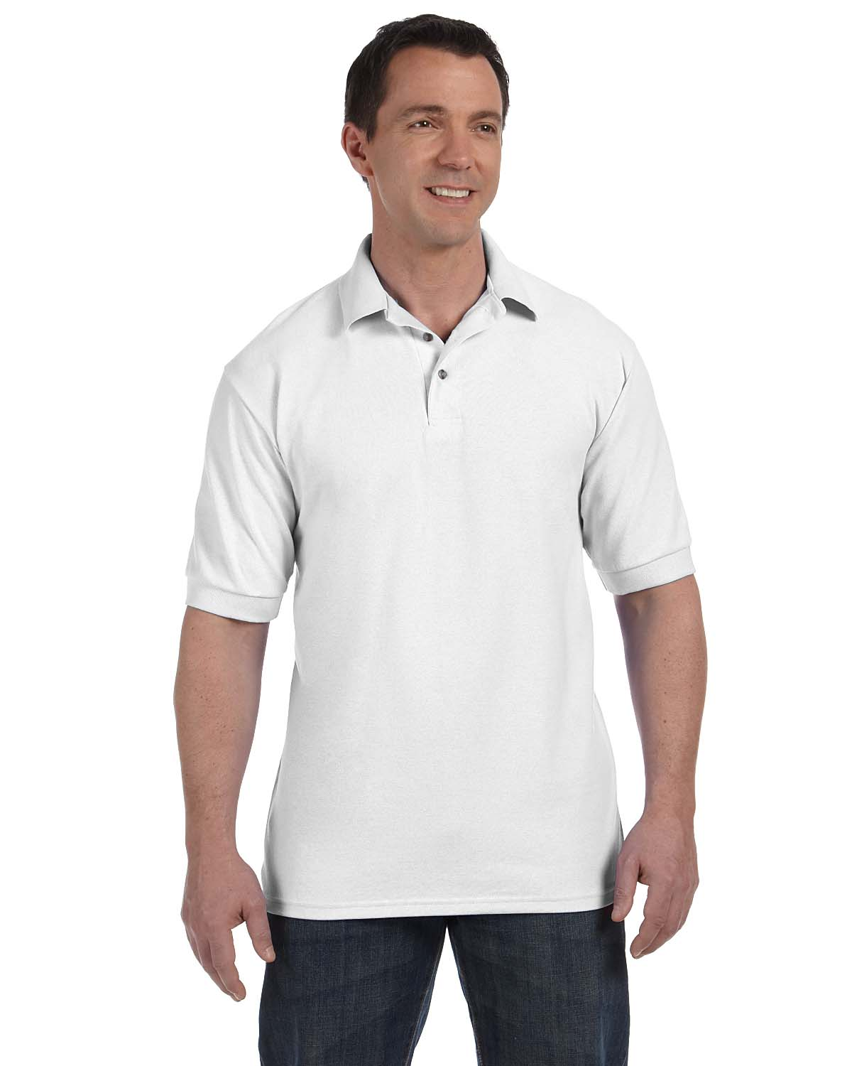 Hanes 055 Men 7 oz. ComfortSoft Cotton Pique Polo White at GotApparel