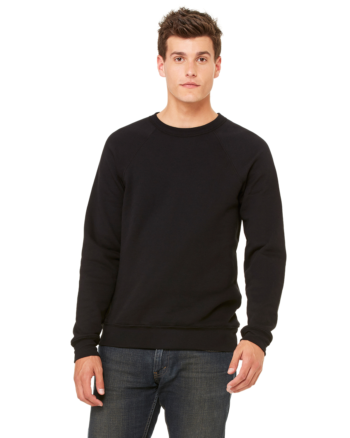 Bella + Canvas 3901 Unisex Sponge Fleece Crew Neck Sweatshirt Black at GotApparel