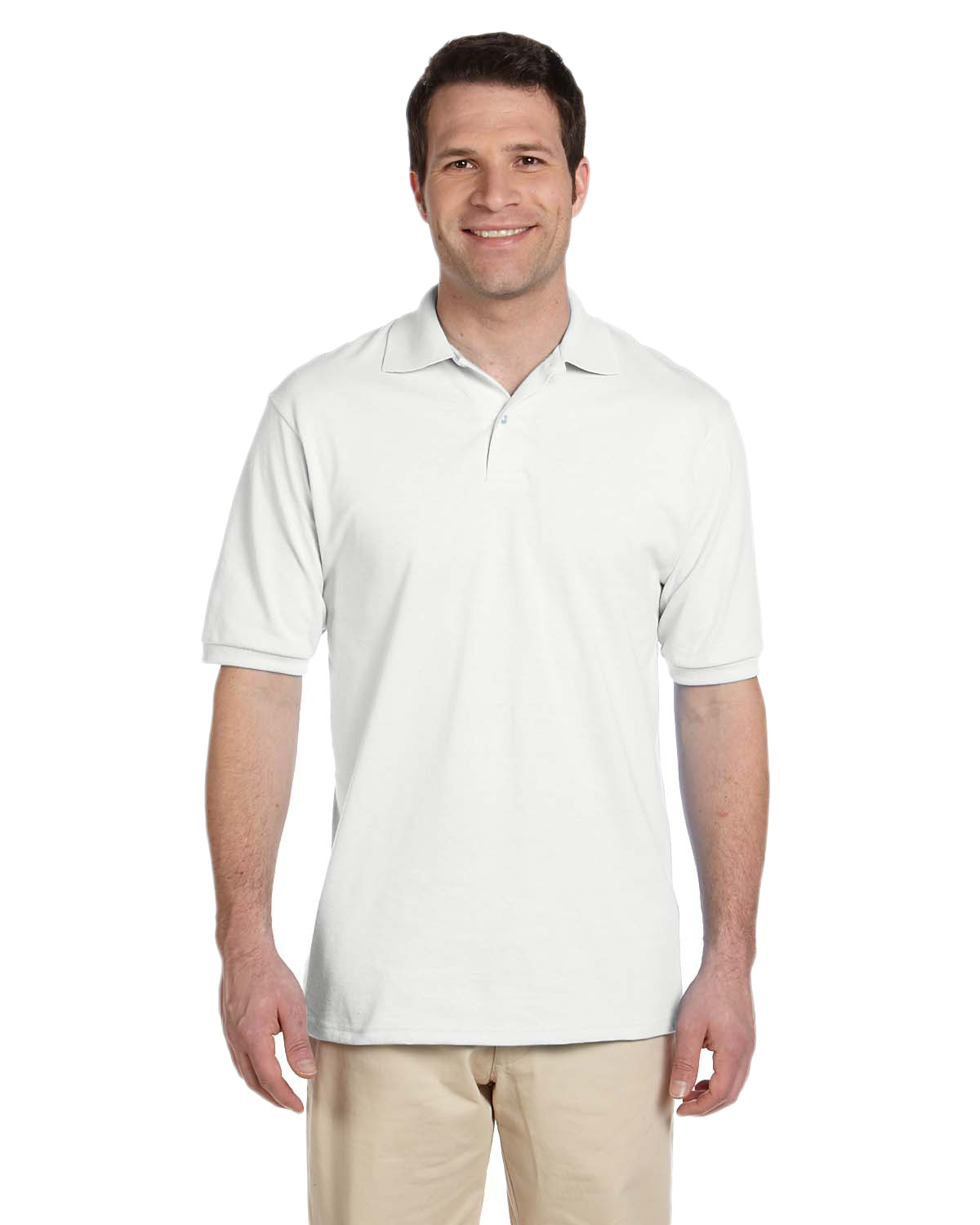 Jerzees 437 Men 5.6 oz., 50/50 Jersey Polo with SpotShield White at GotApparel