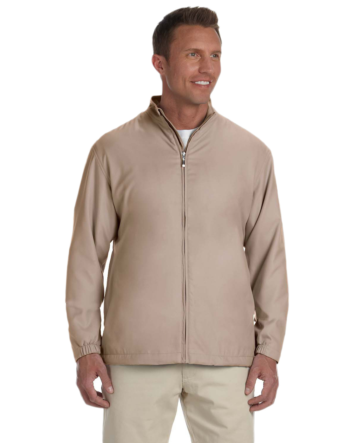 Ashworth 5378 Men Full-Zip Lined Wind Jacket Stone at GotApparel