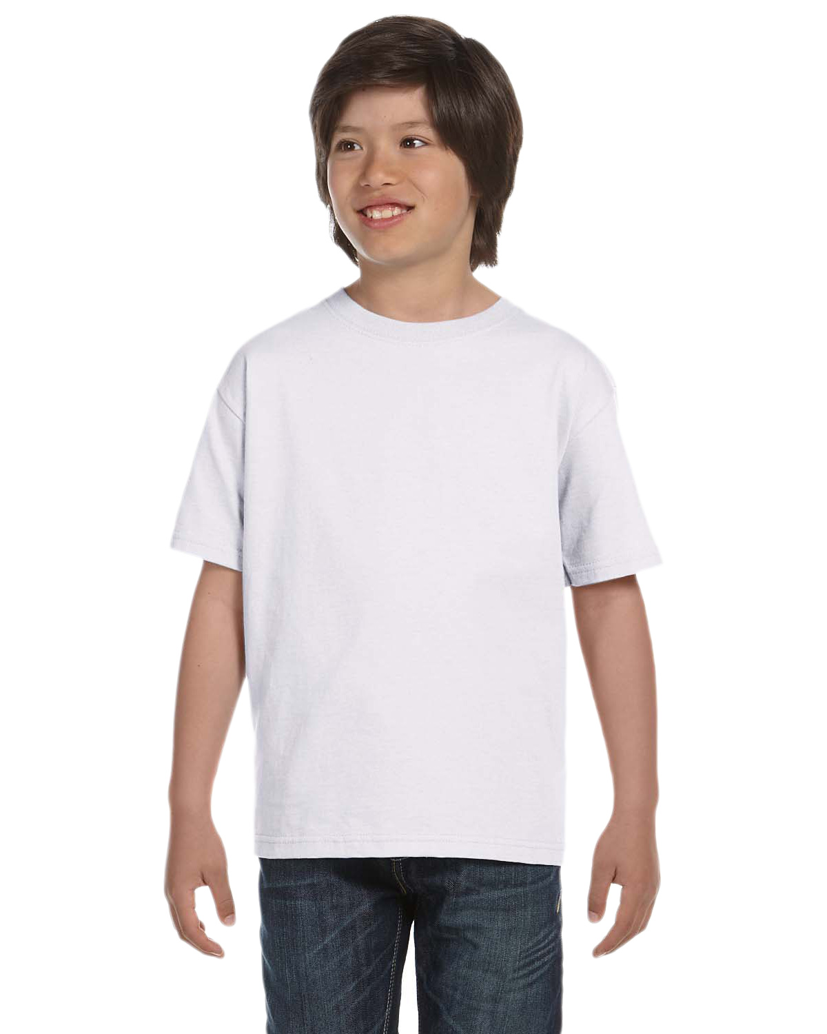 Hanes 5480 Boys 5.2 oz. ComfortSoft Cotton T-Shirt White at GotApparel