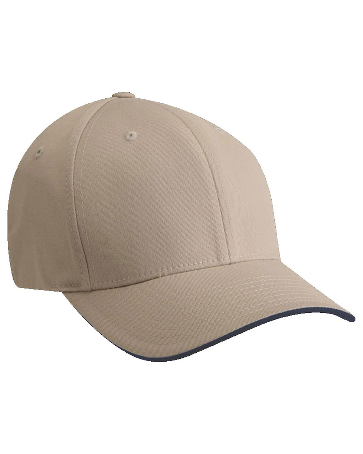 Yupoong 6077 Unisex Cool & Dry Sandwich Cap Khaki/Navy at GotApparel