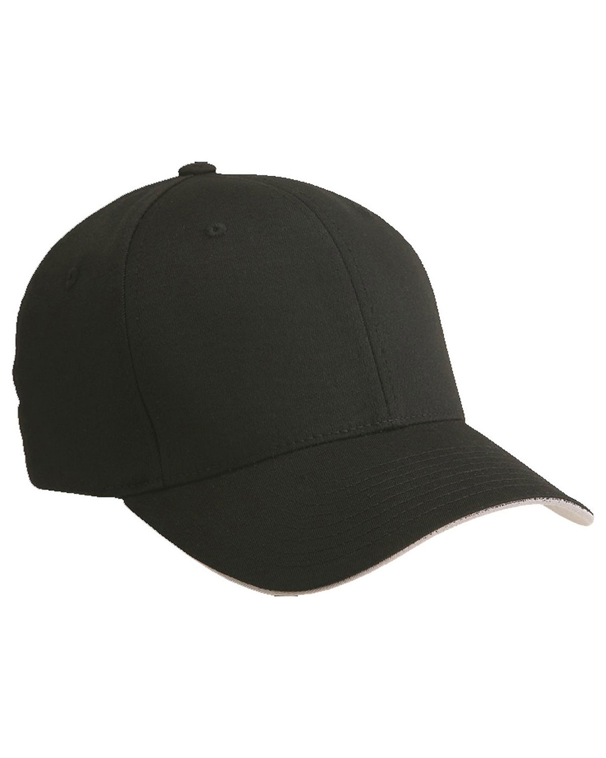 Yupoong 6077 Unisex Cool & Dry Sandwich Cap Black/Silver at GotApparel