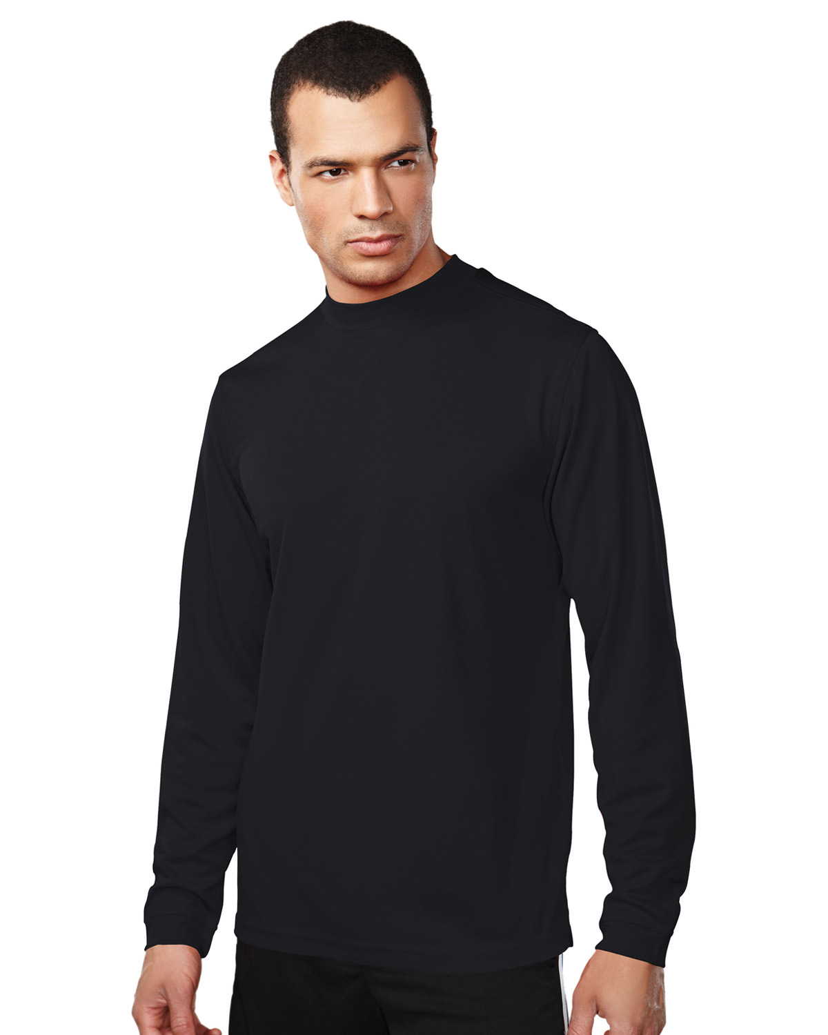 Men S 100 Polyester Ls Knit Mock Neck Shirt W Self Cuff