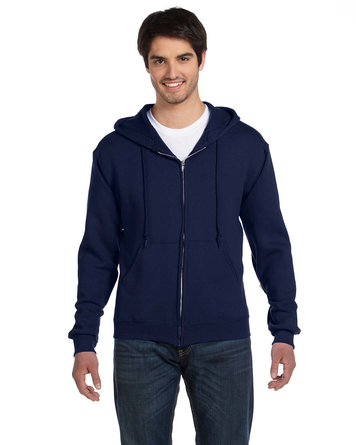 Fruit of the Loom 82230 Men 12 oz. Supercotton 70/30 Full Zip Hood J Navy at GotApparel
