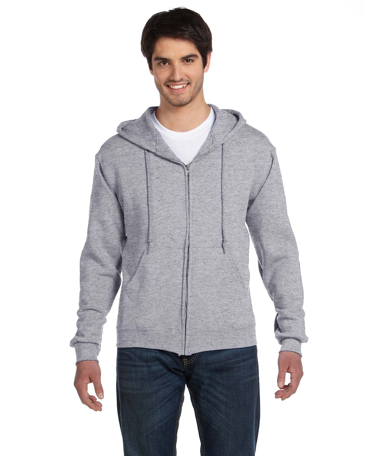 Fruit of the Loom 82230 Men 12 oz. Supercotton 70/30 Full Zip Hood Athletic Heather at GotApparel