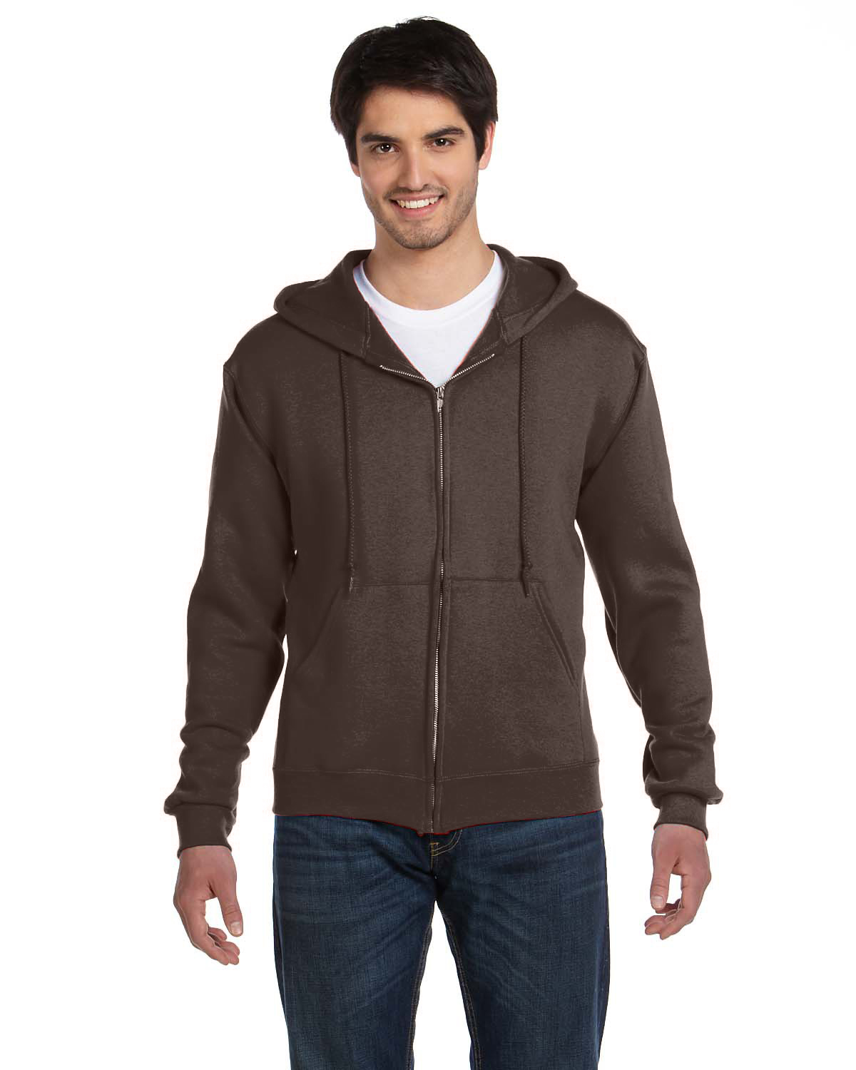 Fruit of the Loom 82230 Men 12 oz. Supercotton 70/30 FullZip Hood Chocolate at GotApparel