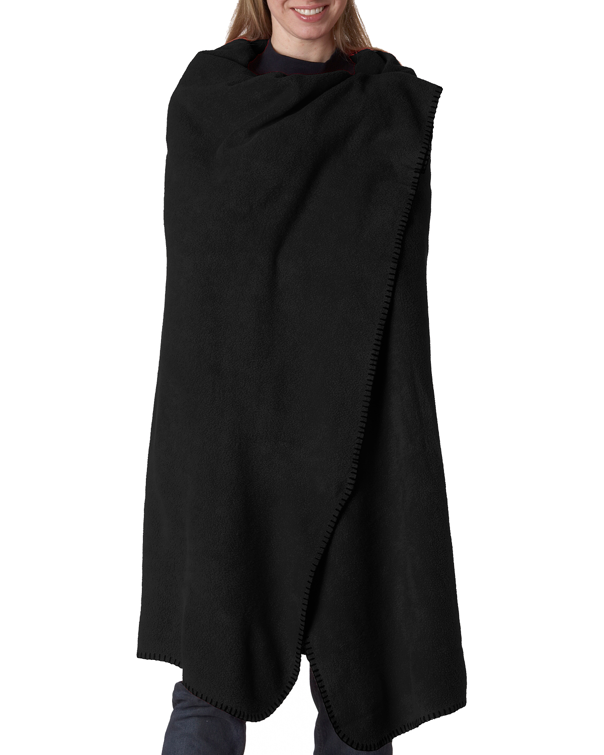 UltraClub 8484 Men Iceberg Fleece Blanket Black at GotApparel