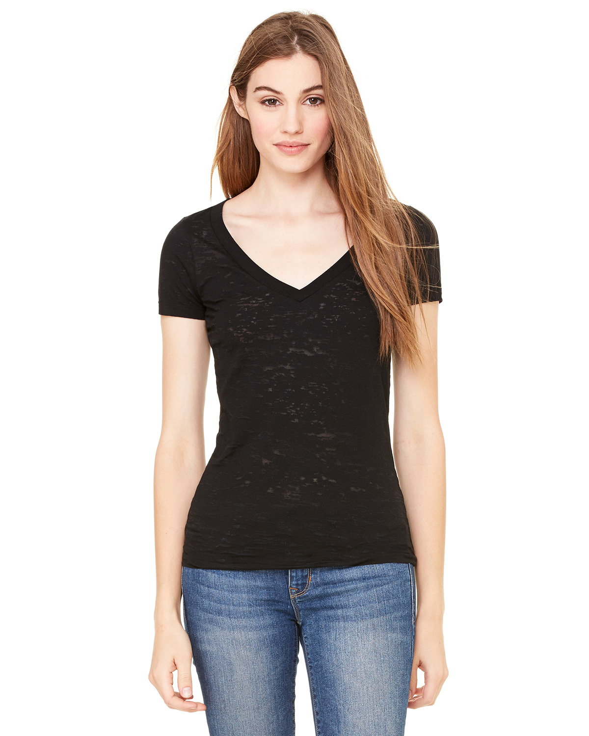 Bella + Canvas 8605 Women Burnout short sleeve VNeck TShirt Black at GotApparel