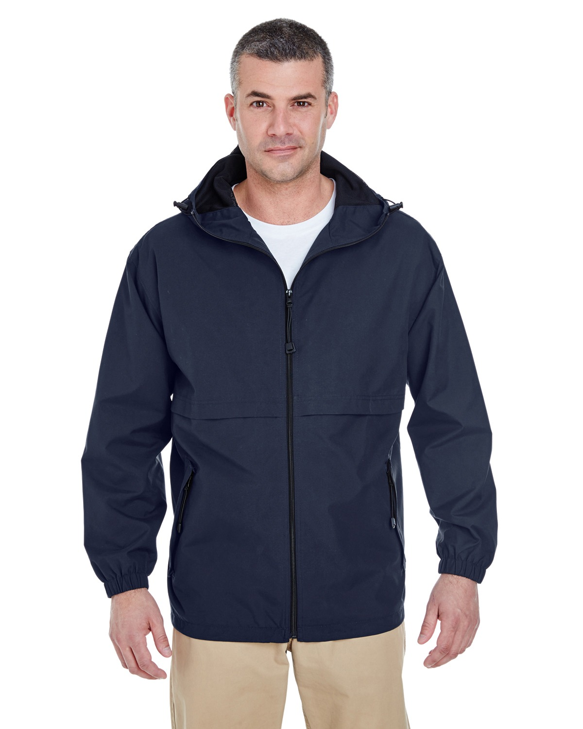 UltraClub 8908 Men Microfiber Full Zip Hooded Jacket Navy at GotApparel