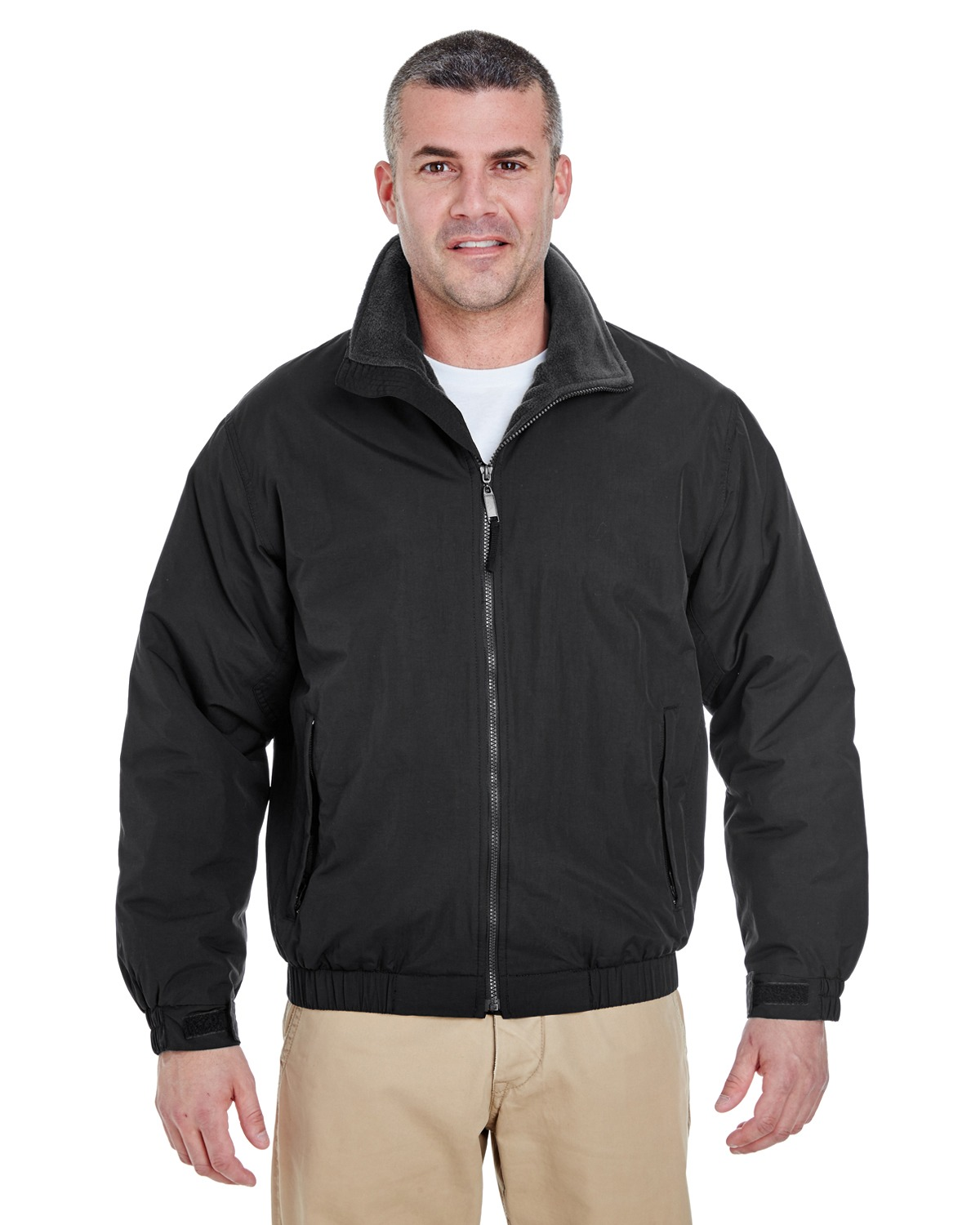 UltraClub 8921 Men Adventure All-Weather Jacket Black/ Black at GotApparel