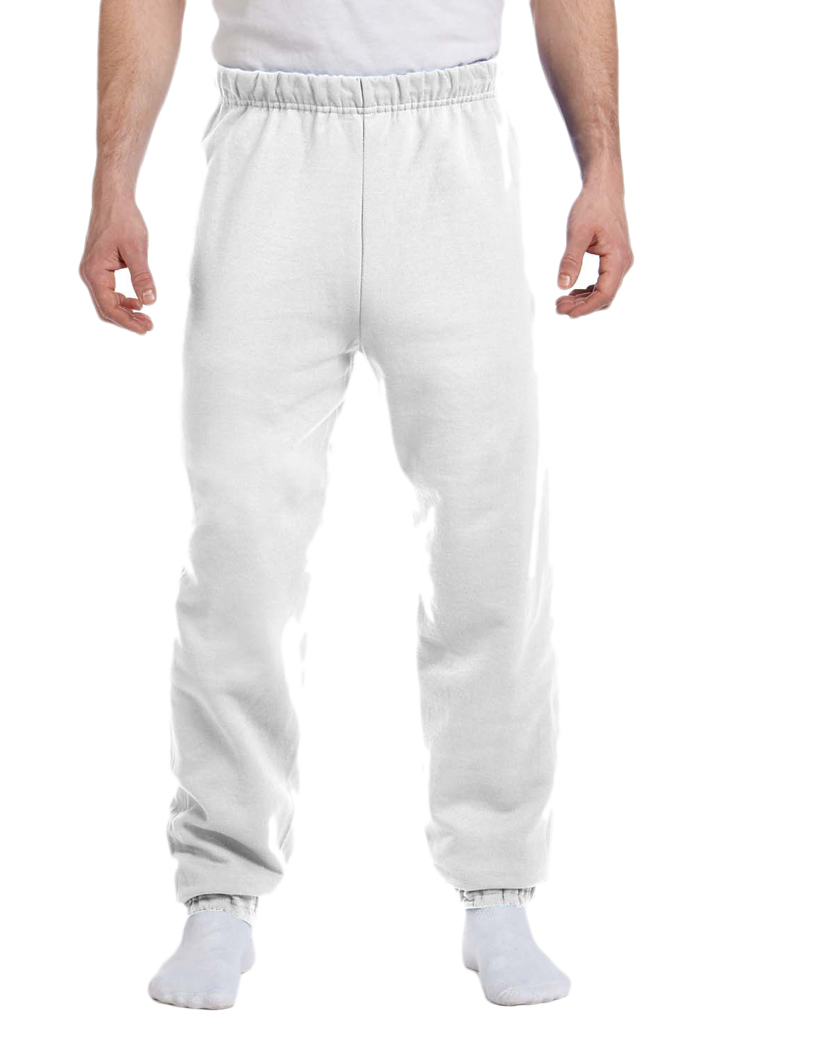 Jerzees 973 Men 8 oz., 50/50 NuBlend Fleece Sweatpants White at GotApparel