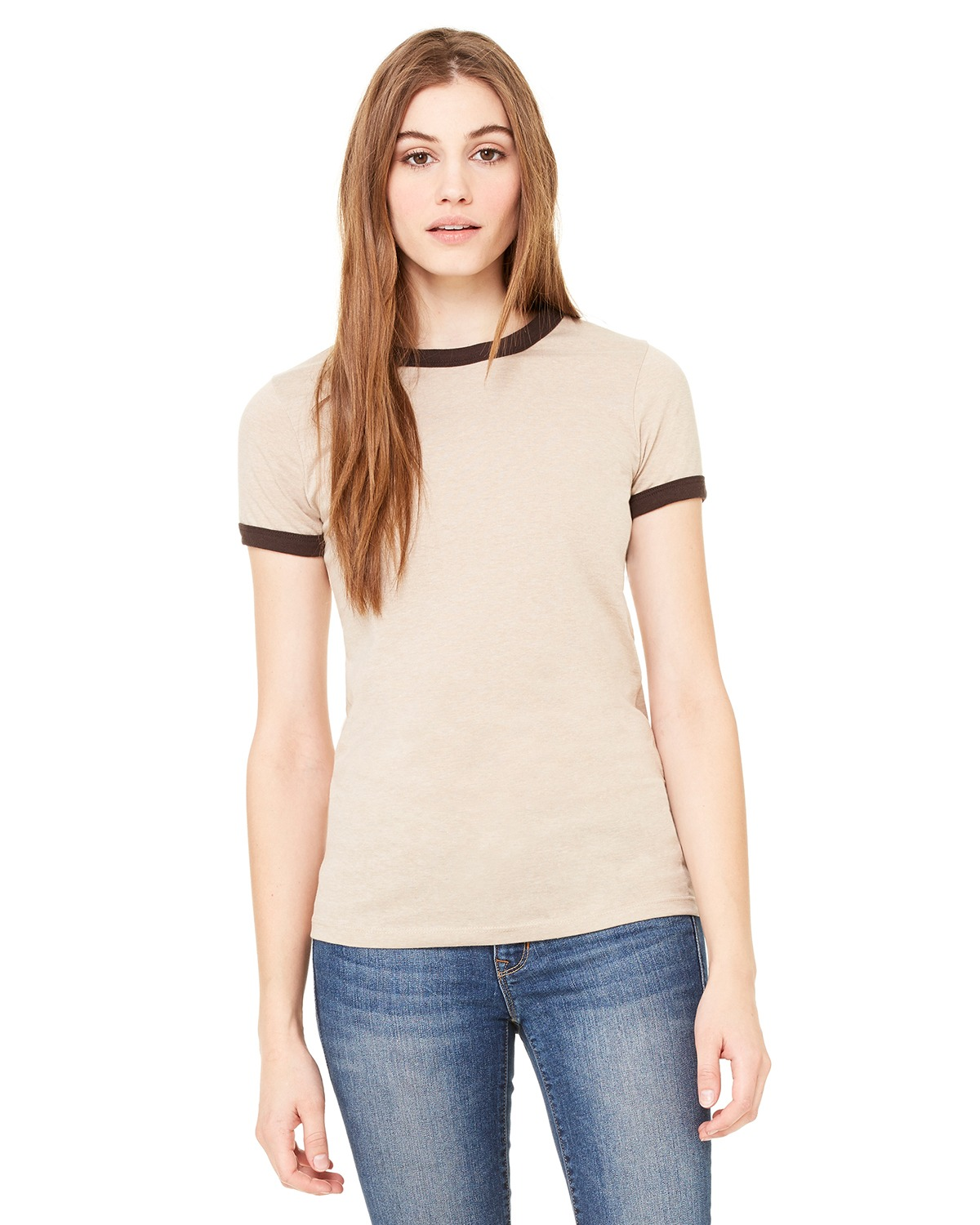 Bella + Canvas B6050 Women Jersey short sleeve Ringer TShirt Hthr Tan/Chocolate at GotApparel