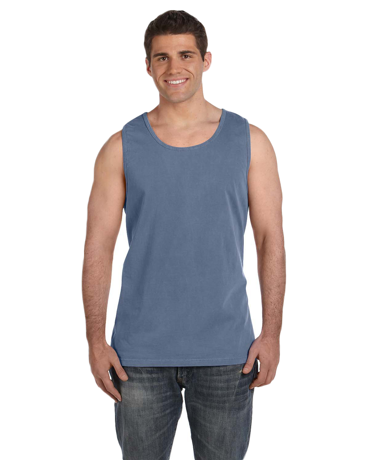 Comfort Colors C9360 Men Ringspun Garment-Dyed Tank Blue Jean at GotApparel