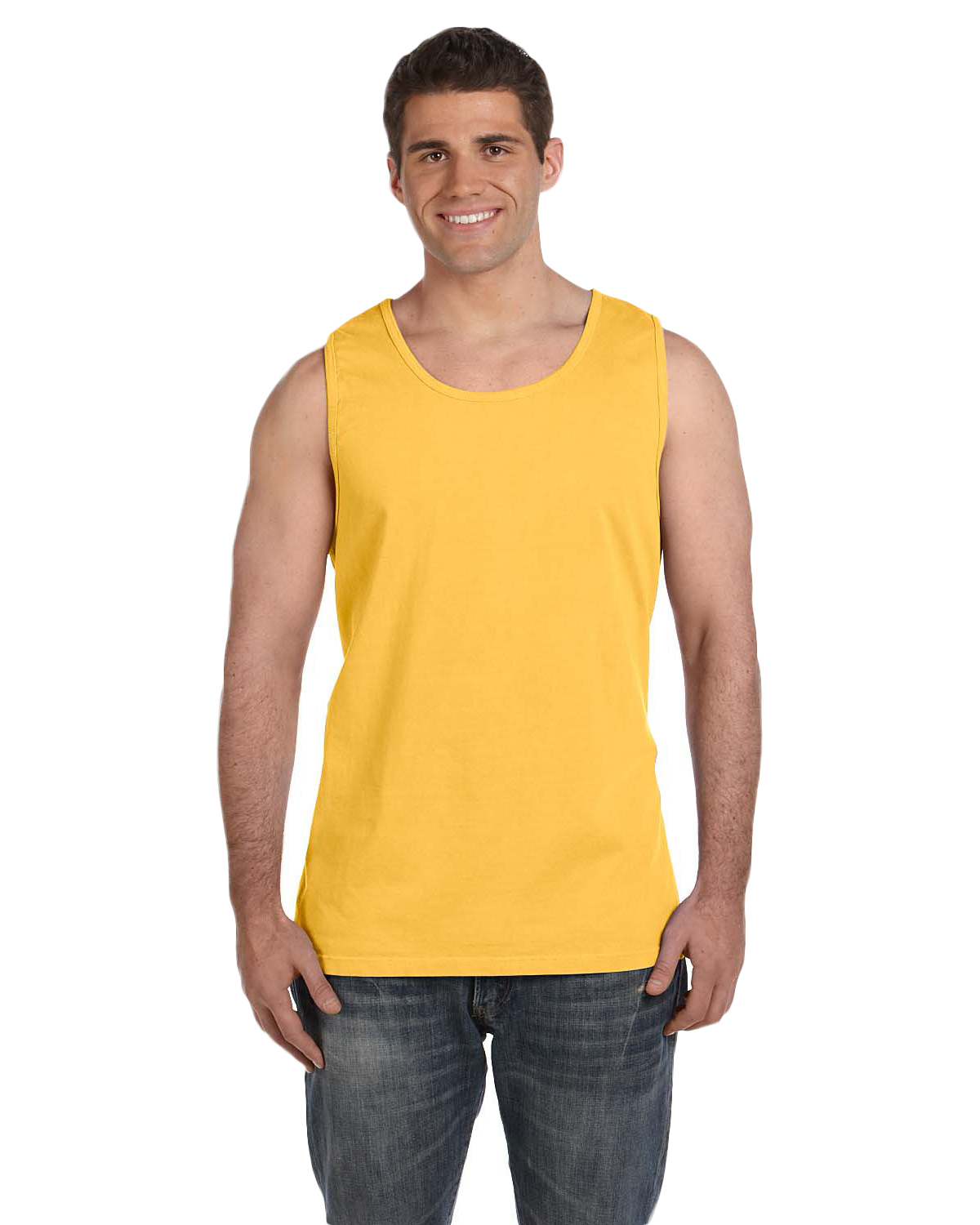Comfort Colors C9360 Men Ringspun Garment-Dyed Tank Citrus at GotApparel