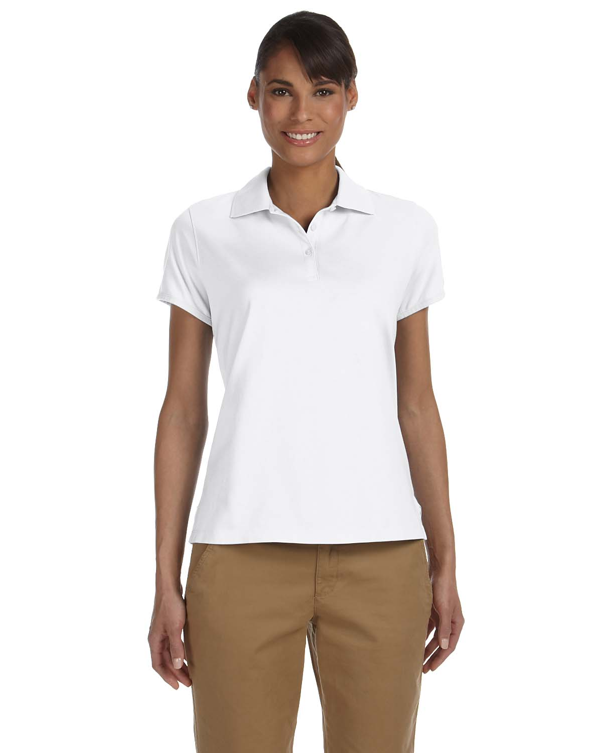 Chestnut Hill CH180W Women Performance Plus Jersey Polo White at GotApparel