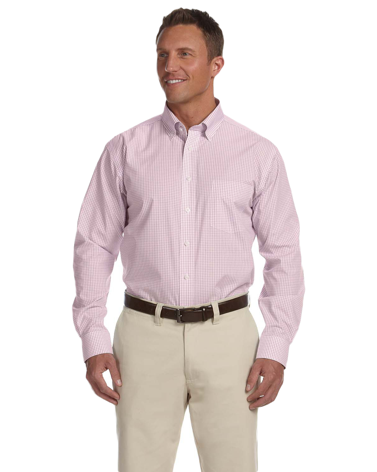 Chestnut Hill CH600 Men Executive Performance Broadcloth Merlot Tattersal at GotApparel
