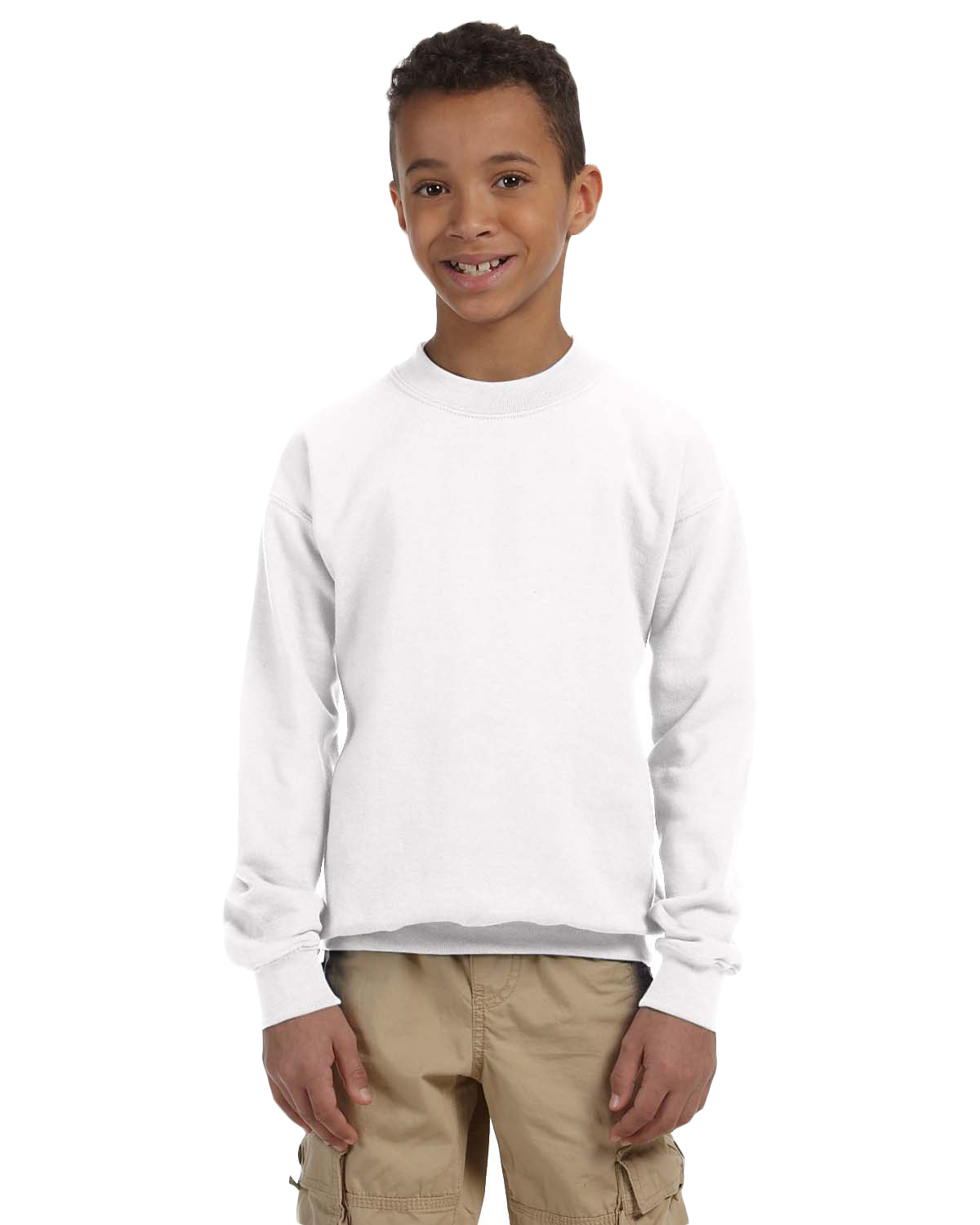 Gildan G180B Boys Heavy Blend 8 oz., 50/50 Fleece Crew White at GotApparel