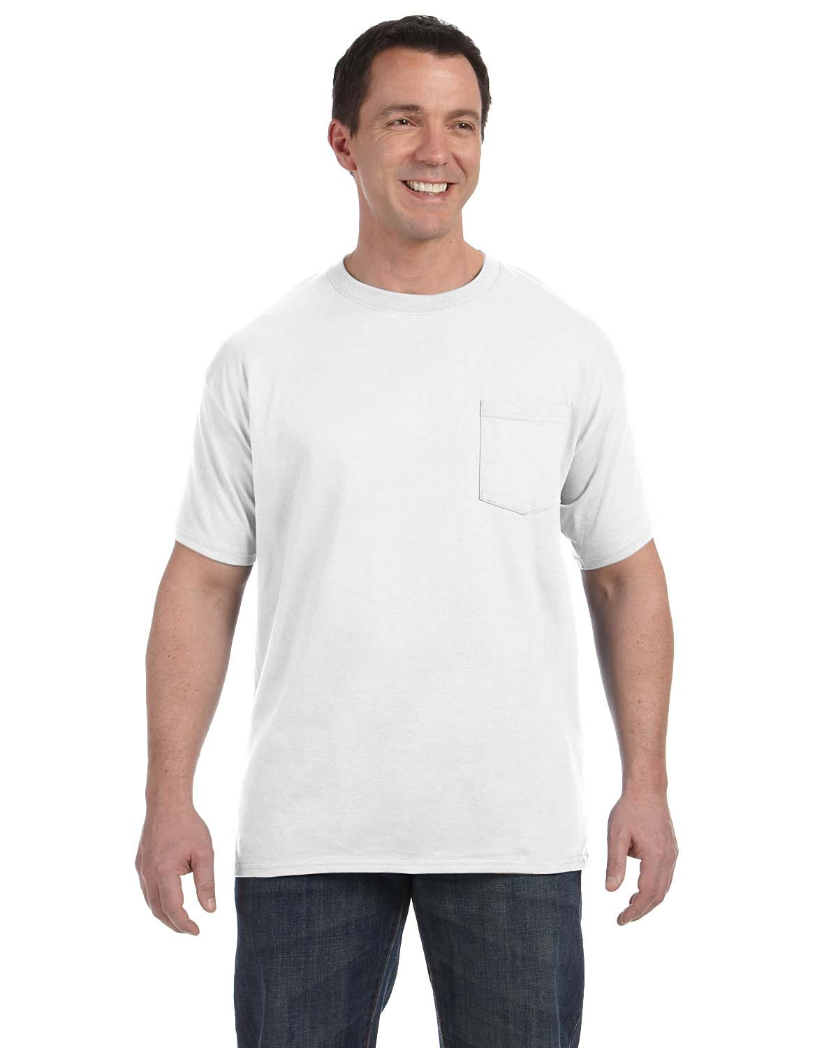 Hanes H5590 Men 6.1 oz. Tagless ComfortSoft Pocket T-Shirt White at GotApparel