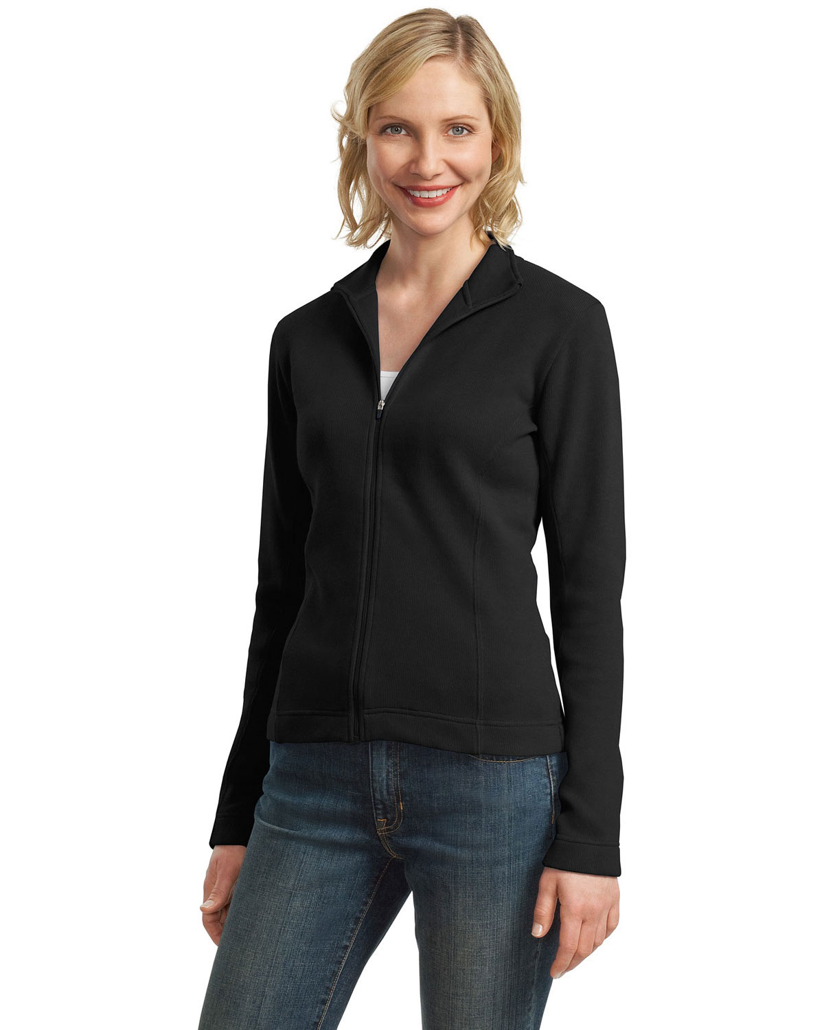 Port Authority L221 Women Flatback Rib FullZip Jacket Black at GotApparel