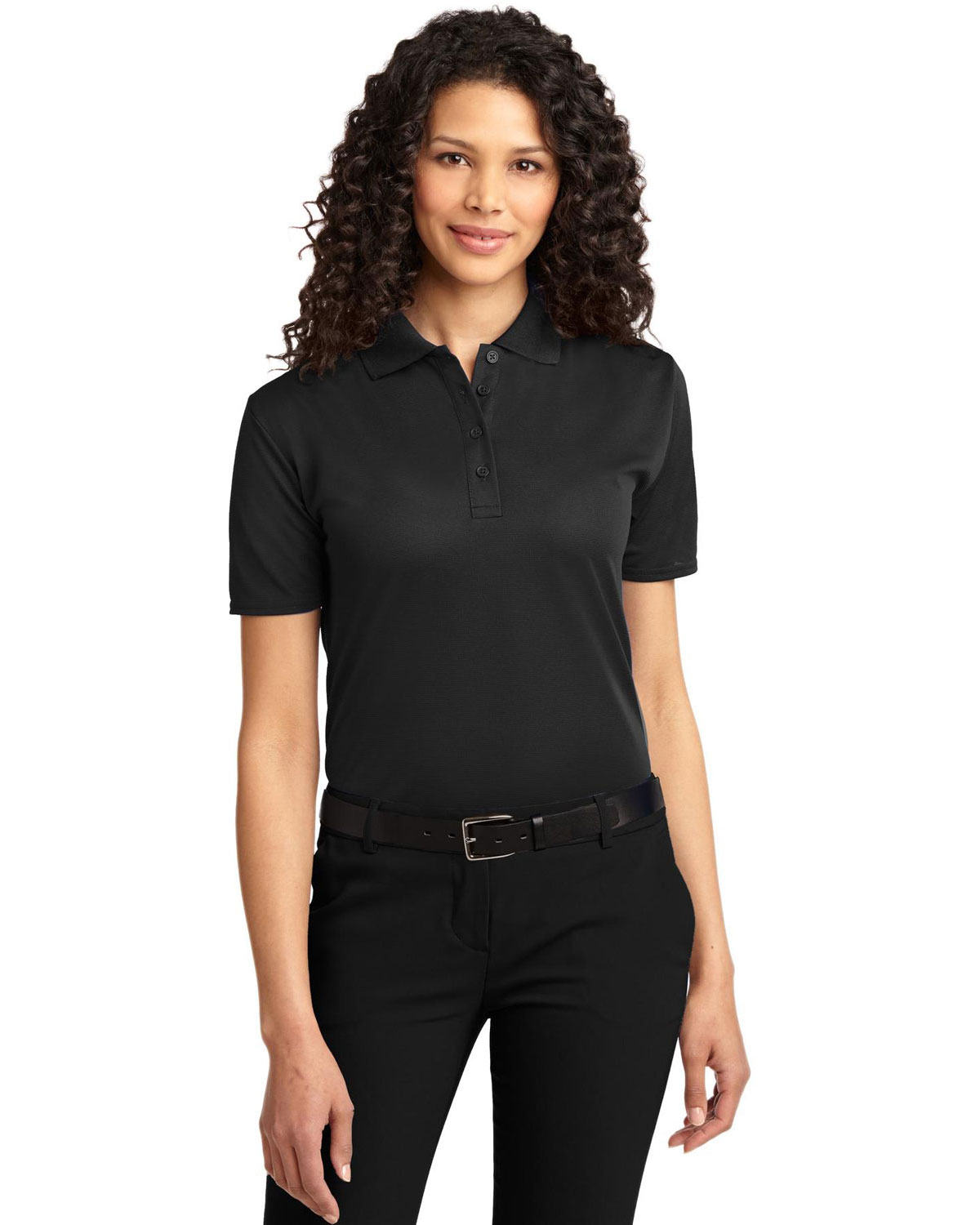 Port Authority L525 Women Dry Zone   Ottoman Polo Black at GotApparel