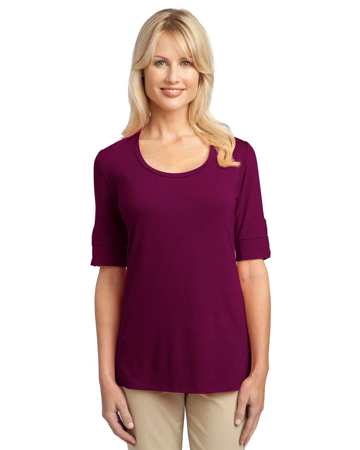 Port Authority L541 Women Concept Scoop Neck Shirt Purple Potion at GotApparel