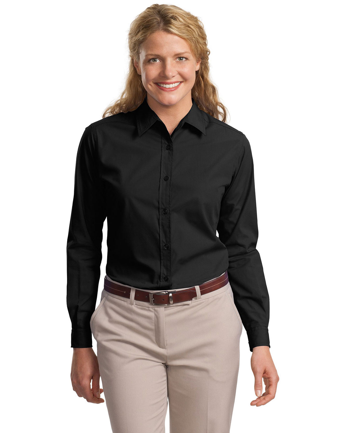 Port Authority L607 Women Long Sleeve Easy Care, Soil Resistant Shirt Black at GotApparel