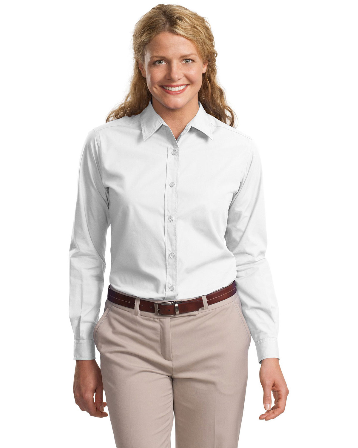 Port Authority L607 Women Long Sleeve Easy Care, Soil Resistant Shirt White at GotApparel