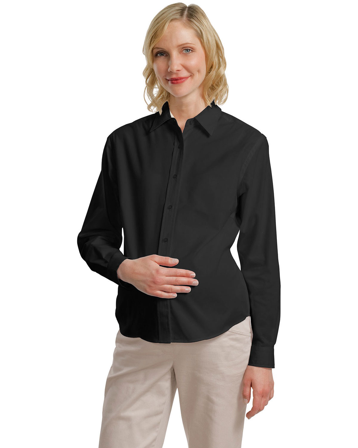 Port Authority L608M Women Maternity Long Sleeve Easy Care Shirt Black/Light Stone at GotApparel