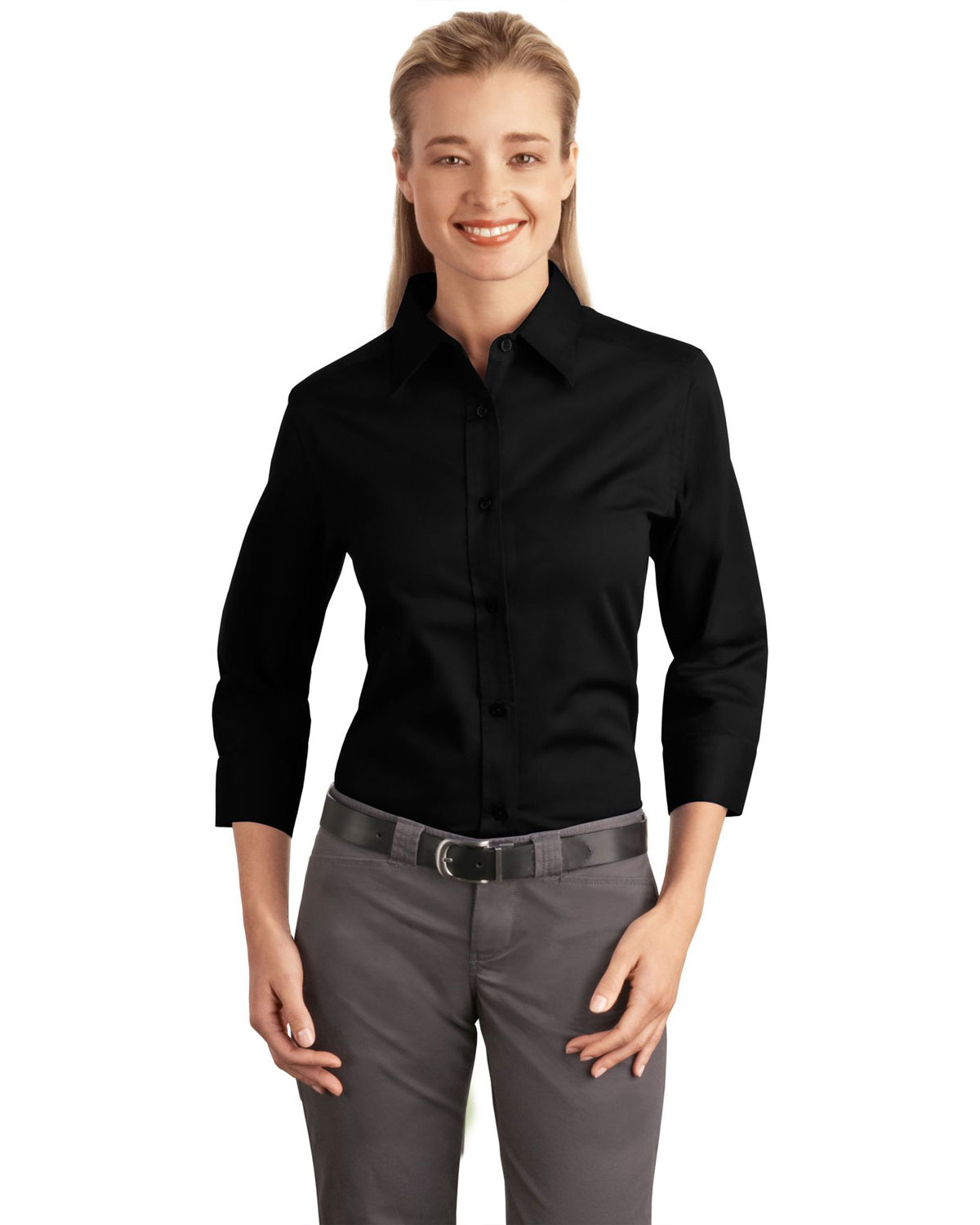 Port Authority L612 Women 3/4Sleeve Easy Care Shirt Black at GotApparel