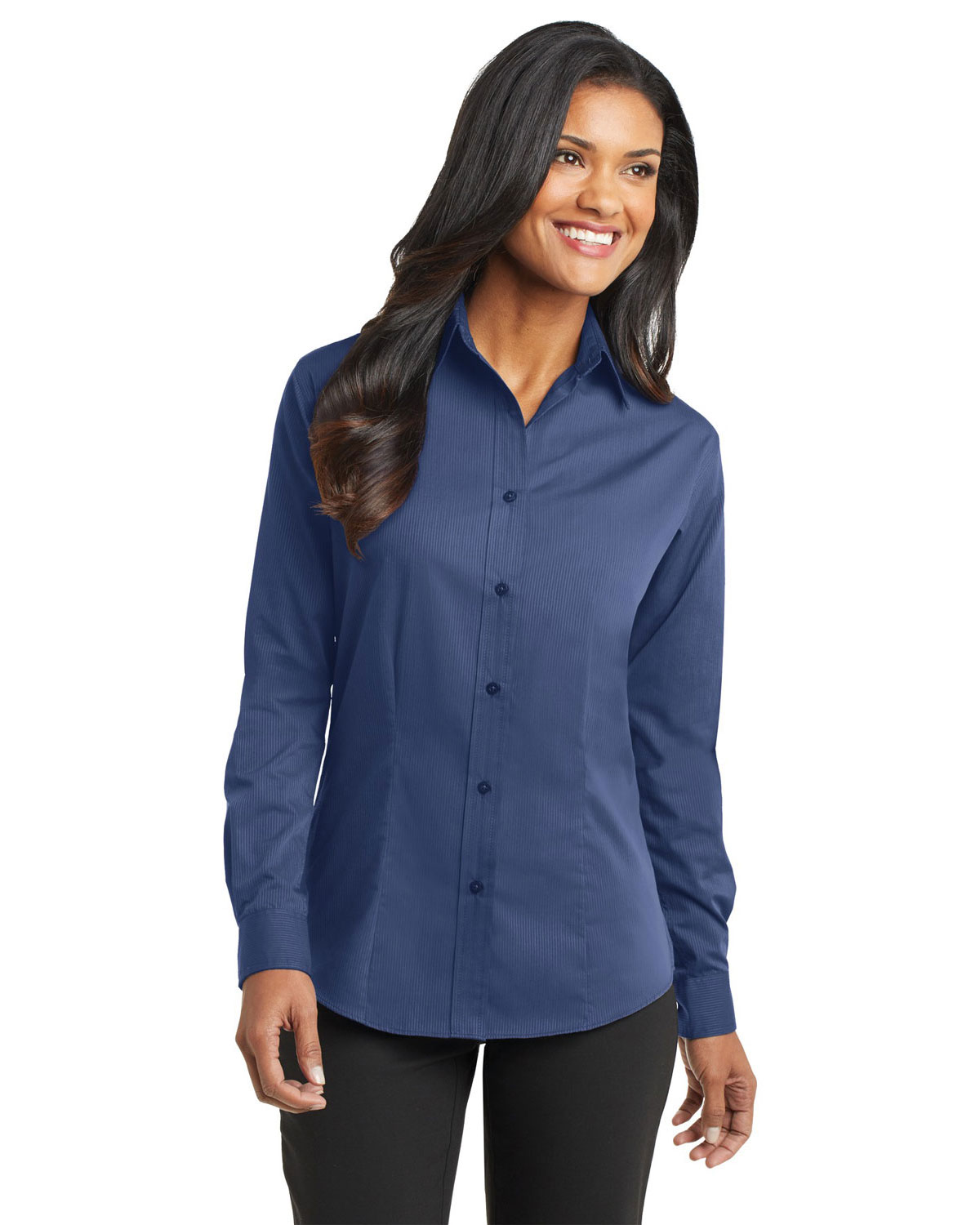 Port Authority L613 Women Tonal Pattern Easy Care Shirt Blue at GotApparel
