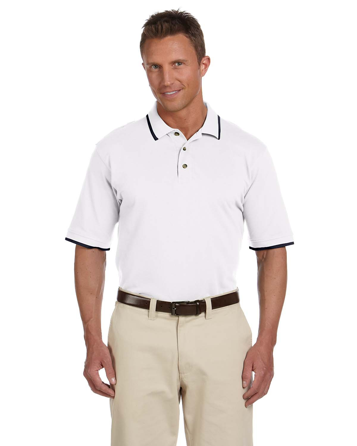Harriton M210 Men 6 oz. short sleeve Pique Polo with Tipping White/Navy at GotApparel