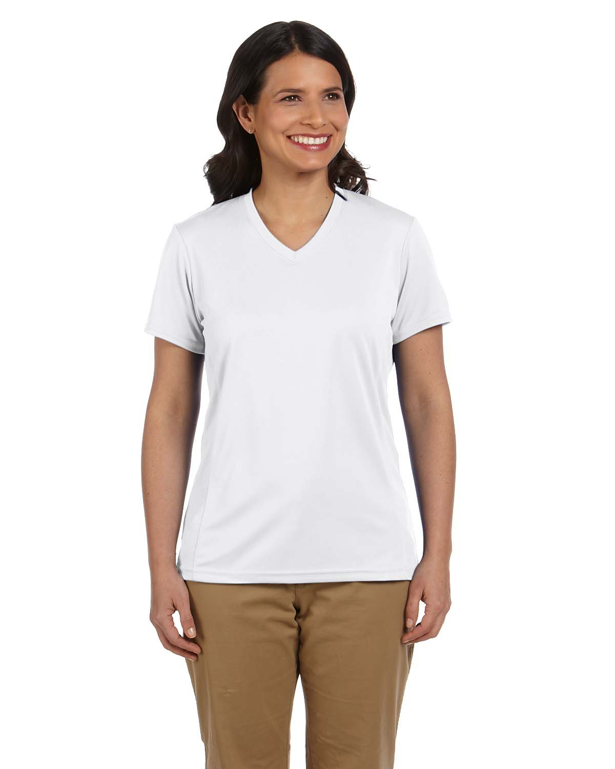 Harriton M320W Women 4.2 oz. Athletic Sport T-Shirt White at GotApparel