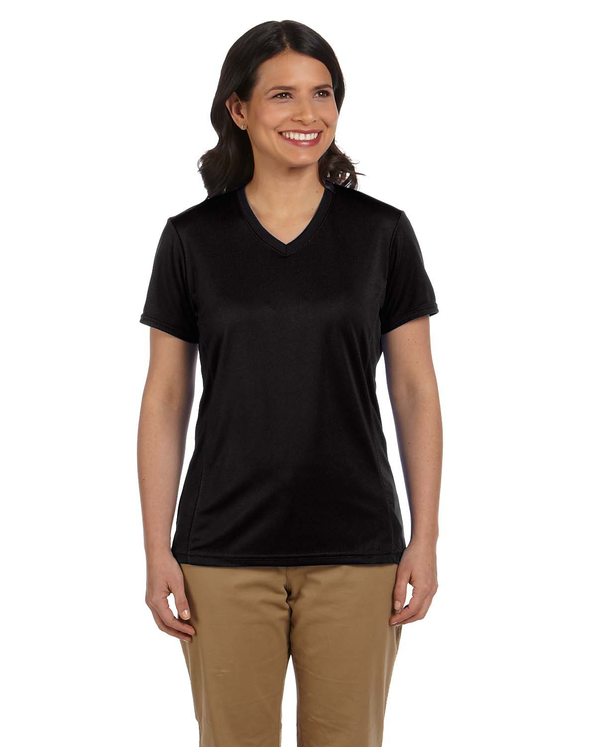 Harriton M320W Women 4.2 oz. Athletic Sport TShirt Black at GotApparel