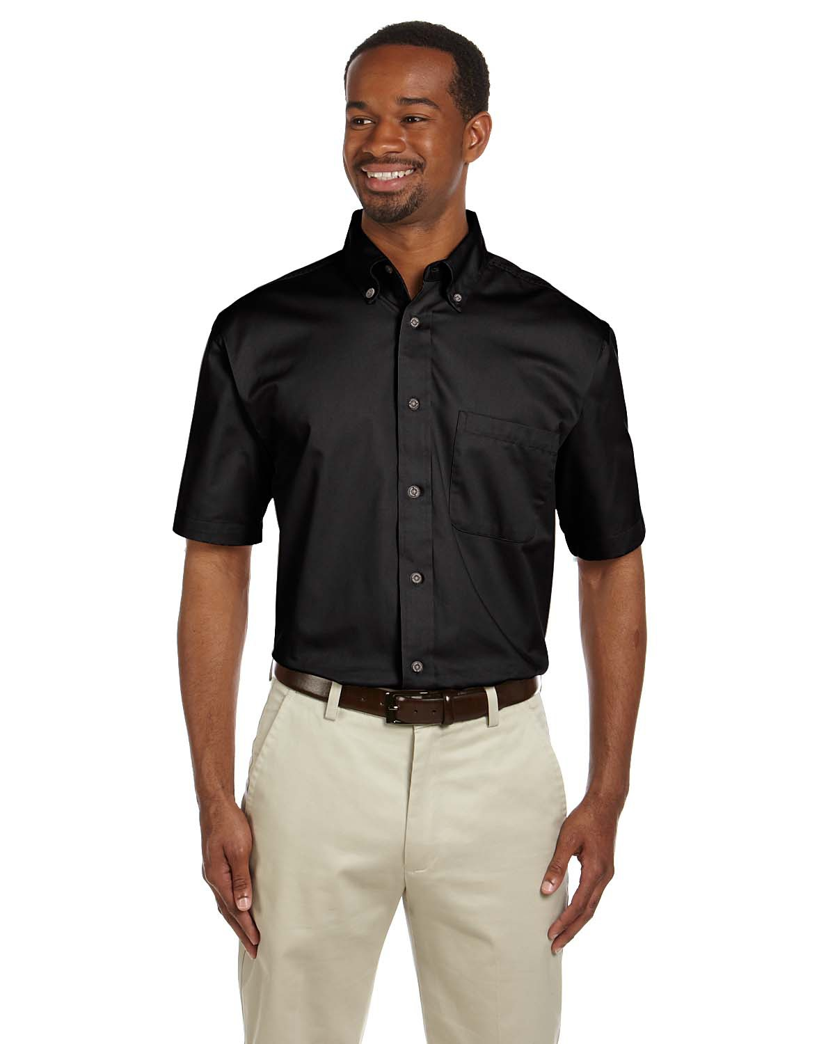 Harriton M500S Men Easy Blend ShortSleeve Twill Shirt with StainRelease Black at GotApparel