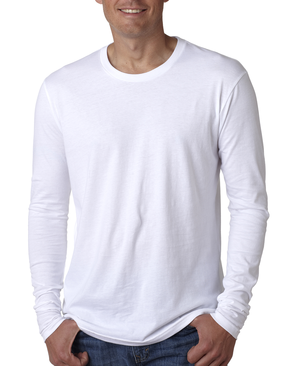 Next Level N3601 Men Premium Fitted Long-Sleeve Crew Tee White at GotApparel