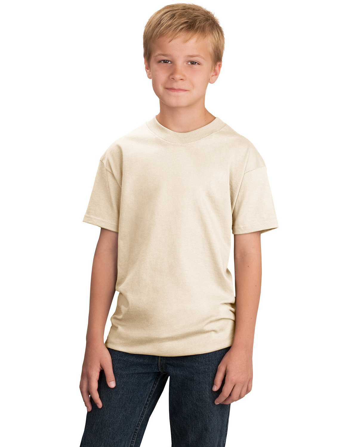 Port & Company PC54Y Boys 5.4 oz 100% Cotton T-Shirt Natural at GotApparel