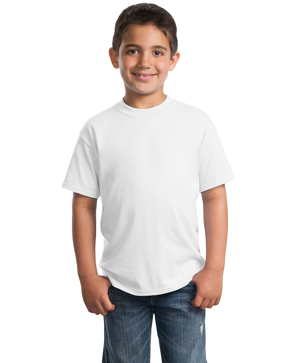 Port & Company PC55Y Boys 50/50 Cotton/Poly T-Shirt White at GotApparel