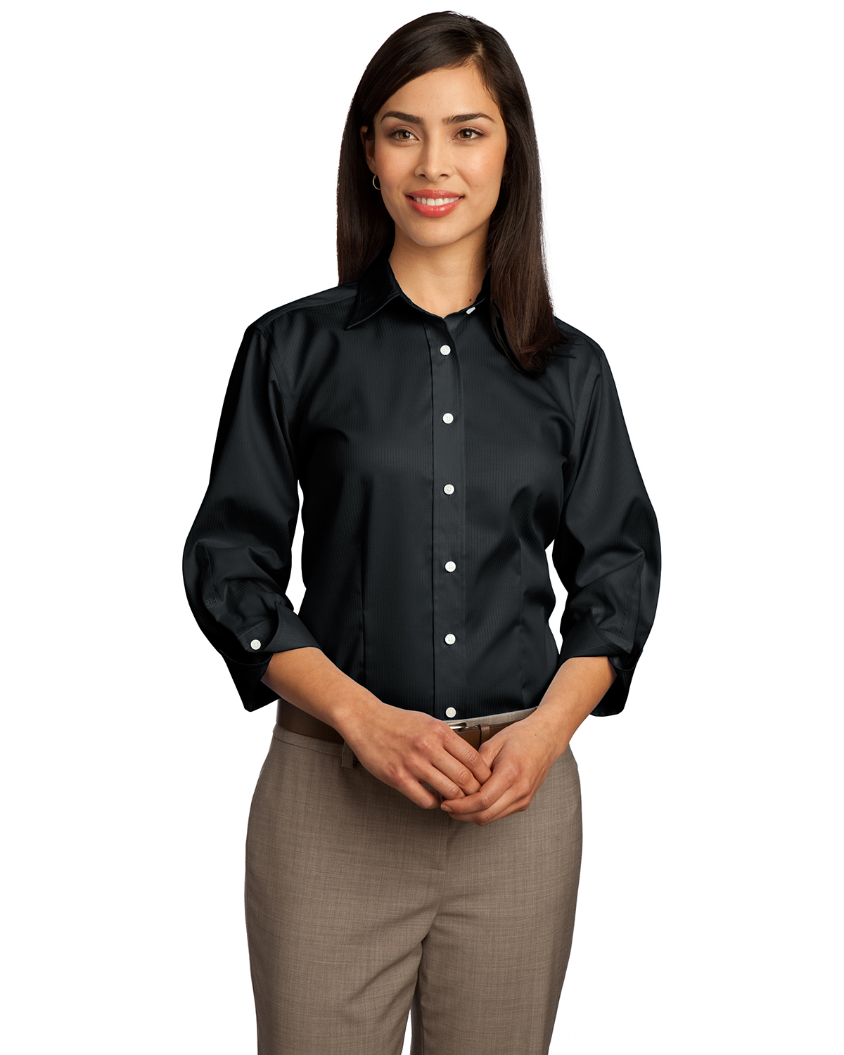 Red House RH61 Women 3/4Sleeve Dobby Non-Iron ButtonDown Shirt Black at GotApparel