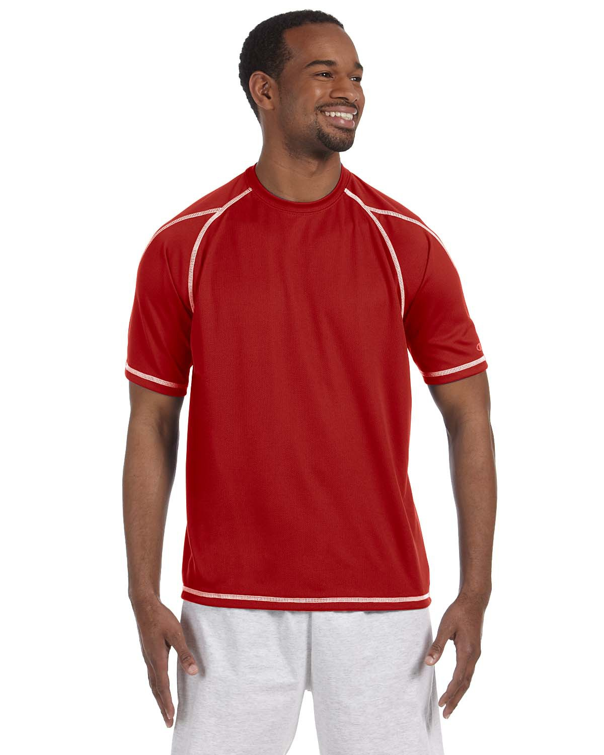 Champion T2057 Men Double Dry 4.1 oz. Mesh T-Shirt Scarlet at GotApparel