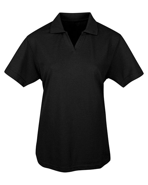 Tri-Mountain 091 Women Newport Short Sleeve Easy Care Golf Shirt With Johnny Collar Black at GotApparel