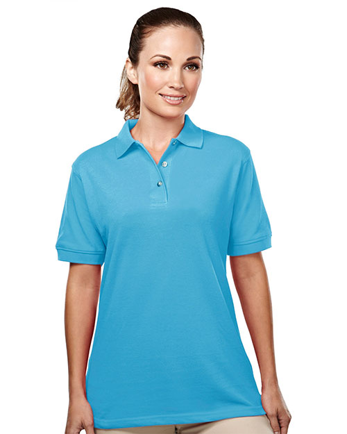 Tri-Mountain 092 Women Accent Short Sleeve Easy Care Pique Golf Shirt Aquatic Blue at GotApparel