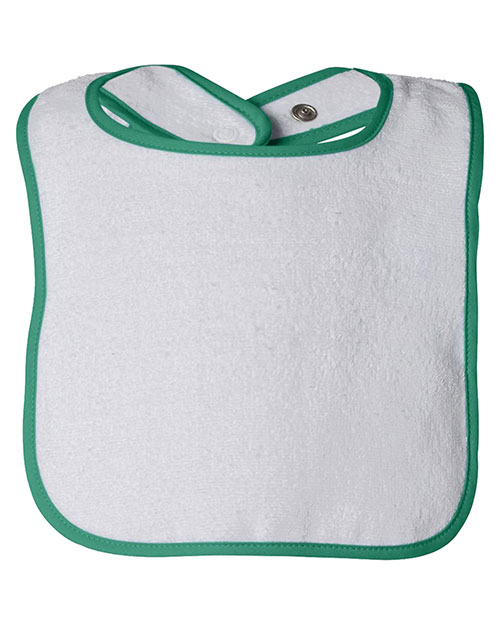 Rabbit Skins 1003 infants Terry Snap Bib White/Kelly at GotApparel