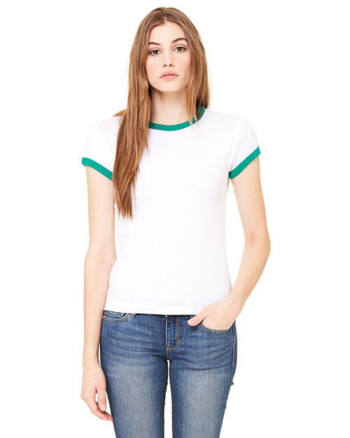 Bella + Canvas 1007 Women Stretch Rib ShortSleeve Ringer TShirt White/Kelly at GotApparel