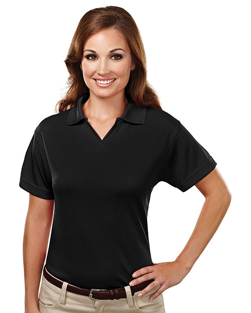 TRI-MOUNTAIN PERFORMANCE 104 Women Ambition Poly Ultracool Mesh Johnny Collar Golf Shirt Black at GotApparel