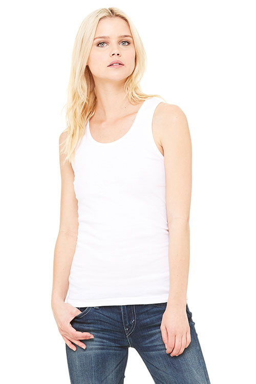 Bella + Canvas 1080 Women Stretch Rib Tank White at GotApparel