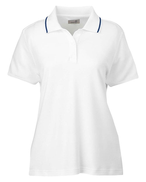 Ashworth 1149C Women Performance Wicking Blend Polo White/Blue/Navy at GotApparel
