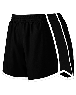 Augusta Drop Ship 1266 Girl's Jr. Fit Pulse Team Short Black/Black/White at GotApparel