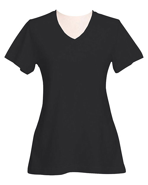 Tri-Mountain 130 Women Appeal Cotton Jersey Short Sleeve V-Neck Knit Black at GotApparel